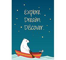 Polar bear and Bird on a boat  Photographic Print