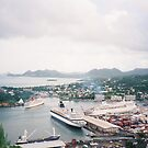 Aerial View of Cruise Ships, Caribbean Port and Harbor by lenspiro