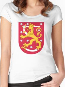 Coat of Arms of Finland  Women's Fitted Scoop T-Shirt