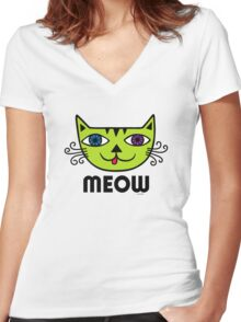 Meow Cat multi Women's Fitted V-Neck T-Shirt