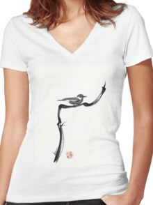 LITTLE FRIEND - Sumie ink brush pen painting of a bird Women's Fitted V-Neck T-Shirt