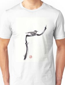 LITTLE FRIEND - Sumie ink brush pen painting of a bird Unisex T-Shirt