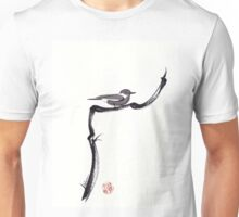 LITTLE FRIEND - Sumie ink brush pen painting of a bird Unisex T-Shirt
