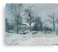 Piette's House at Montfoucault, Snow Effect Canvas Print