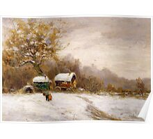 Gypsy Caravans in the Snow Poster