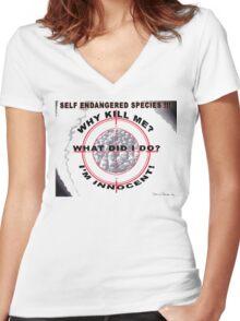 Self Endangered Species Women's Fitted V-Neck T-Shirt