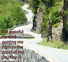 I'm grateful for God putting me right in the point of my journey in life that he wants me to be. by Liesl Gaesser