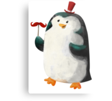 Fancy Penguin with Mustaches on the stick Metal Print