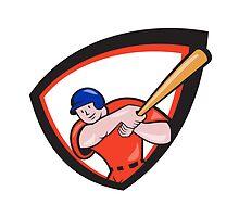 Baseball Player Batting Front Shield Cartoon by patrimonio