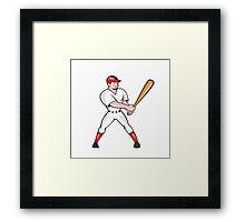 Baseball Hitter Batting Isolated Cartoon Framed Print