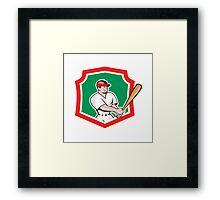 Baseball Player Batting Crest Cartoon Framed Print