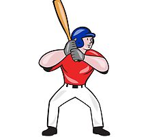 Baseball Player Batting Front Isolated Cartoon by patrimonio