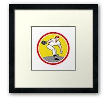 Baseball Pitcher Throw Ball Cartoon Framed Print