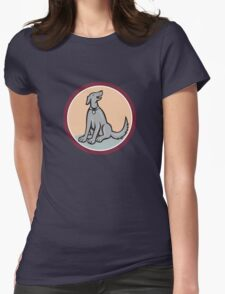 Dog Sitting Looking Up Cartoon Womens Fitted T-Shirt