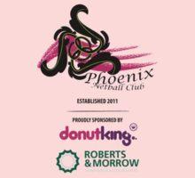 Phoenix Netball Club sponsor tee - small logo 2014 by Netball