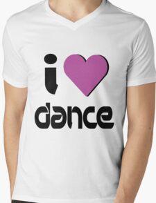 I Love Dance Music Mens V-Neck T-Shirt