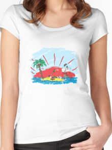 colorful sketch of a treasure island and pirate ship Women's Fitted Scoop T-Shirt