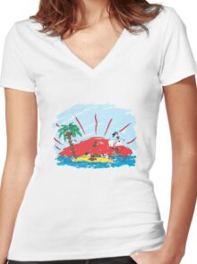 colorful sketch of a treasure island and pirate ship Women's Fitted V-Neck T-Shirt