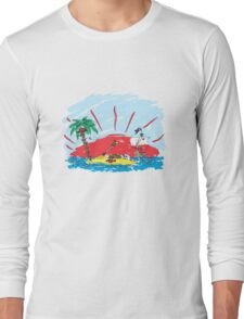 colorful sketch of a treasure island and pirate ship Long Sleeve T-Shirt