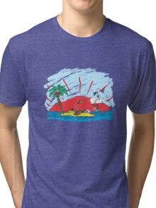 colorful sketch of a treasure island and pirate ship Tri-blend T-Shirt