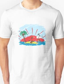colorful sketch of a treasure island and pirate ship T-Shirt
