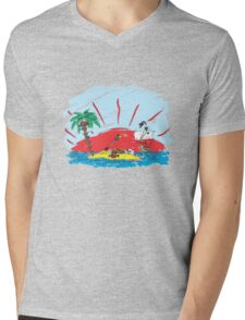 colorful sketch of a treasure island and pirate ship Mens V-Neck T-Shirt