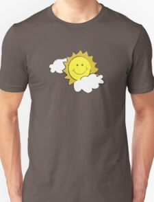 colorful sketch of the sun partly covered with clouds T-Shirt