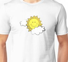 colorful sketch of the sun partly covered with clouds Unisex T-Shirt