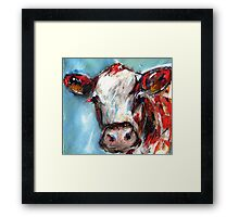 A quizzical cow Framed Print