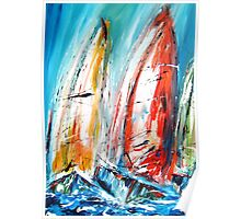 Abstract sail boats  Poster
