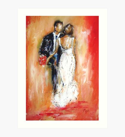 Wedding couple bride and groom  Art Print