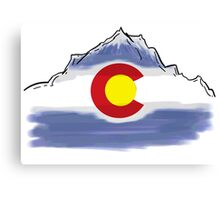 Colorado flag artistic mountain scene Canvas Print