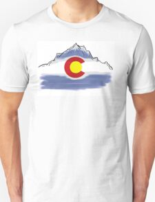 Colorado flag artistic mountain scene Unisex T-Shirt