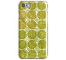Green beige leaf circle swirl design iPhone Case/Skin
