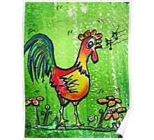 Singing cartoon chicken  Poster