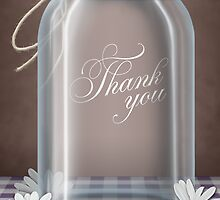 Country Mason Jar Daisy Purple Gingham Thank You Cards by Starzraven