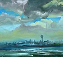 City Skyline Oil Painting by Ekaterina Chernova by Ekaterina Chernova