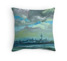City Skyline Oil Painting by Ekaterina Chernova Throw Pillow
