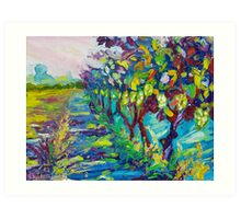 Grape Vines Original Oil Artwork by Ekaterina Chernova Art Print