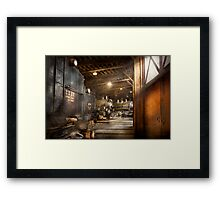 Train - Ready in the roundhouse Framed Print