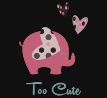 Cute Elephant With Hearts  One Piece - Short Sleeve