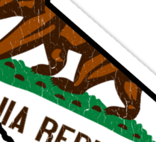 California State Bear Flag (vintage distressed design) Sticker