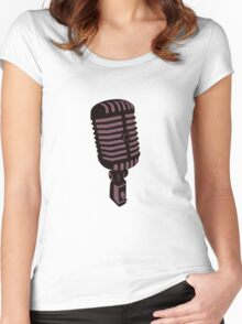 Retro Microphone Women's Fitted Scoop T-Shirt