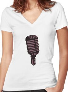 Retro Microphone Women's Fitted V-Neck T-Shirt