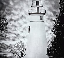 Marblehead Lighthouse on a dramatic sky moring by Susan Kaufman