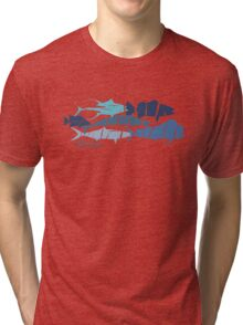 Fish collage ripped  Tri-blend T-Shirt