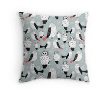 texture of white owls Throw Pillow