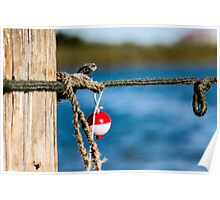Interesting red and white fishing float bobber  Poster