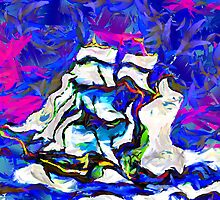 An abstract digital painting of  a True Brigantine. by Dennis Melling