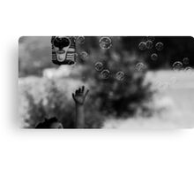 Reaching For Bubbles Black and White Canvas Print